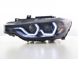 BMW F30 F31 LED Angel Eyes Svarta Strålkastare (Facelift Look)
